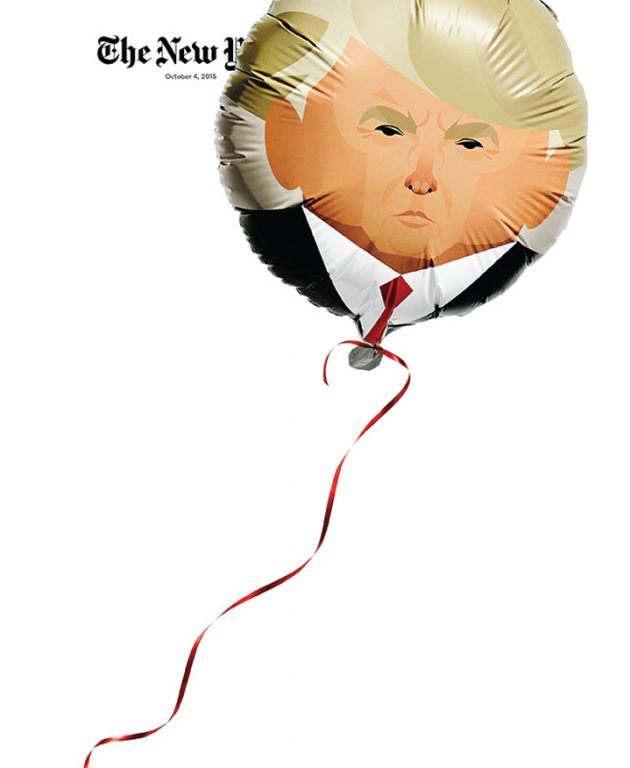 Donald Trump's face on a balloon, artwork by Stanley Chow
