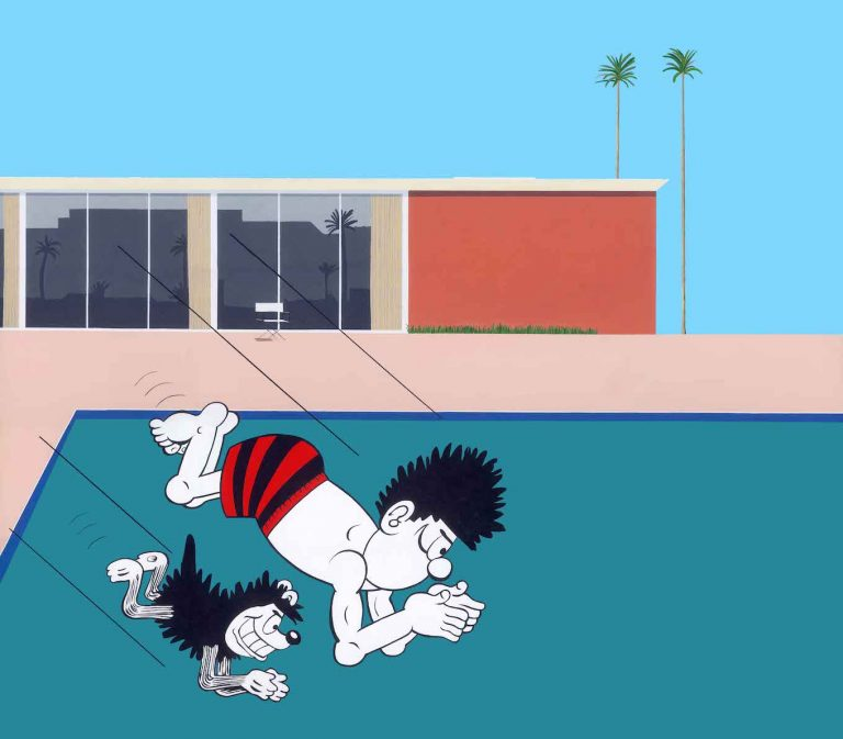 Dennis and Gnasher diving into a pool