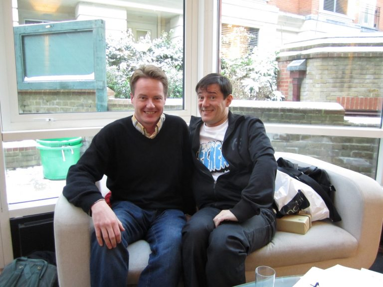 Lee with New Order's Stephen Morris, London, 2012