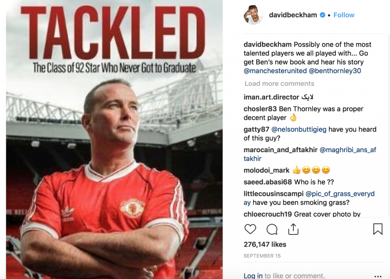 David Beckham Instagram re: Ben Thornley